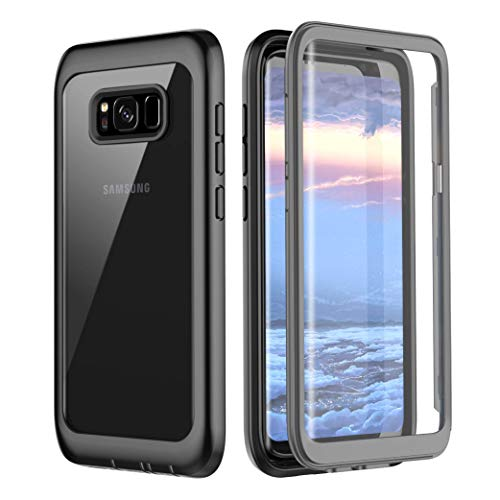 Samsung Galaxy S8 Case, Pakoyi Full Body Bumper Case Built-in Screen Protector Slim Clear Shock-Absorbing Dustproof Lightweight Cover Case for Samsung Galaxy S8 (Grey/Clear)