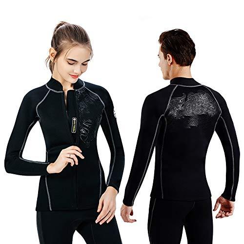 ChengBeautiful Traje De Neopreno para Mujer Traje de baño Unisex Top Swim Jacket Protección UV 2 mm Neopreno for Buceo Snorkeling Surf Kayak Canoa for Hombres Mujeres Negro (Color : Black, Size : L)