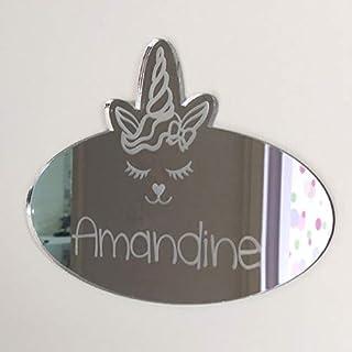 Plaque de Porte Miroir Licorne à Personnaliser - Miroir Mural Décoratif Licorne Personnalisable - Plexi Miroir Personnalis...