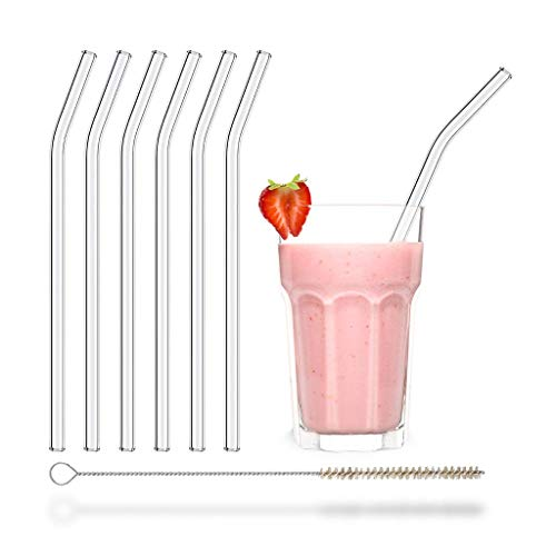 HALM Glass Straws - 6 Reusable Drinking Straws bent + Plastic-Free Cleaning Brush - Made in Germany - Dishwasher Safe - Eco-Friendly - 9 inch Perfect for Smoothies, Cocktails Boba