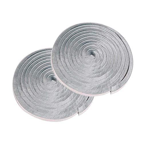 隙間テープ すきまモヘアテープ すき間テープ 気密テープ 虫よけすき間テープ 隙間埋め シールテープ (幅9mm*長さ5m*厚さ5mm+9mm) 2ロール グレー 玄関 ドア 窓 防寒 防風 防音 防虫 気密パッキン ドア 窓 戸当たり