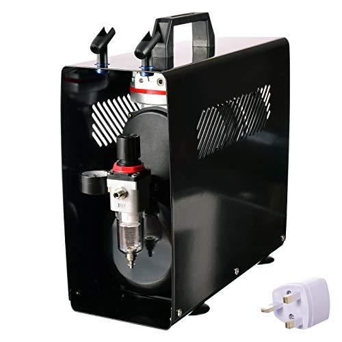 Airbrush-compressor, onderhoudseenheid met tank-luchtfilter, regelaar, ventilator