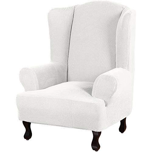 Turquoise Sofa Überzug mit hoher Spandex Stretch Schonbezug Sofa Schonbezug Stilvoller Jacquard Spandex Sofa Schonbezug Stretch Stuhlhusse trägerlos Wing Chair elfenbeinfarben
