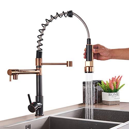 Onyzpily Schwarz+Roségold küchenarmatur mit ausziehbar 360° drehbar Wasserhahn Küche Armatur Spüle Mischbatterie Einhebel Spültischarmatur Spiralfederarmatur