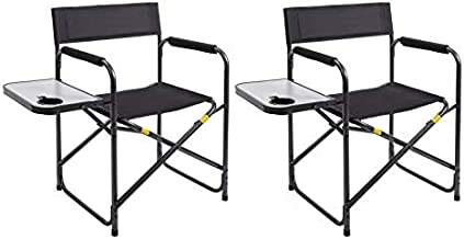 AsterOutdoor Camping Folding Directors Chair with Collapsible Side Table for Outdoors Camp Lawn Fishing, Carry Bag Included, Supports 250lbs
