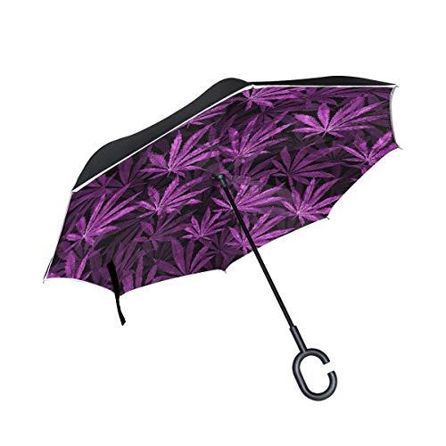 rodde Hojas de Cannabis moradas a Prueba de Viento en Negro para Lluvia Paraguas al Aire Libre con Mango en Forma de C Doble Capa Inversa Seca inversa