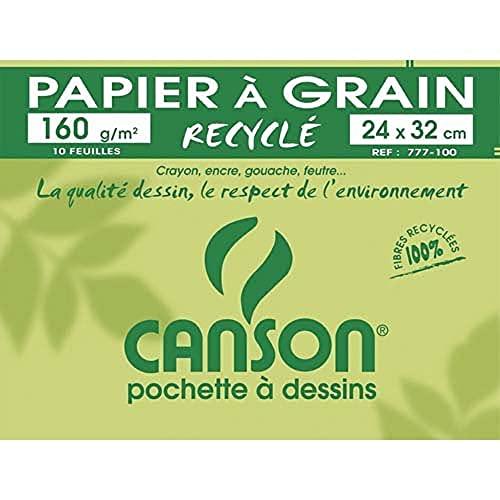 Canson - 200777100 - Pochette de 10 feuilles de papier dessin recyclé - 160 g - 24 x 32 cm