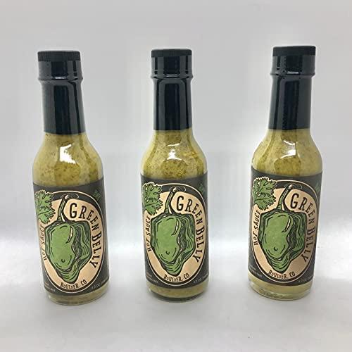Green Belly Hot Sauce: uses Cilantro, Habanero, Garlic & Organic Apple Cider Vinegar - 3pack
