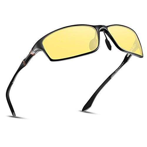 Polarized Night Driving Glasses Anti Glare Safety HD Night Vision Sunglasses (Black Frame05, Yellow)
