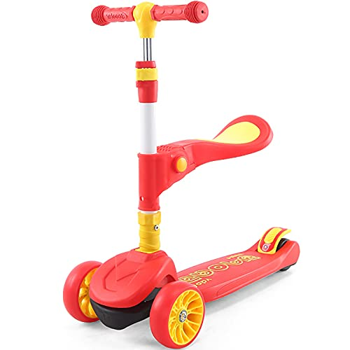 Kinderroller faltet, sitzt, fährt und 2-12 Jahre altes DREI-in-Eins-Blinkrad,Red