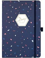 Eono by Amazon - Diary 2021-2022, Agenda settimanale A5 da luglio 2021 a giugno 2022 con copertina rigida blu, linguette mensili, anello per penna e tasca posteriore, 21,3 x 14,7 x 1,6 cm