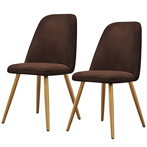 ZYXF Set Di 2 Sedia Pranzo con Seduta Imbottita Design Nordico Sedia In Stile Velluto Sedie Senza Braccia Gambe In Metallo Dorato Sedia Da Ufficio (Color : Dark Brown)