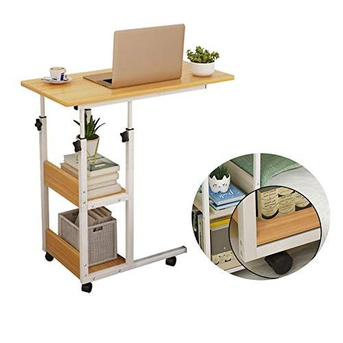 Laptoptisch Höhenverstellbar, Mobiler Betttisch Auf Rollen, Bett-Beistelltisch for Krankenbett, Pflegebett, Mit 2 Schichten, Frühstückstisch Home Office