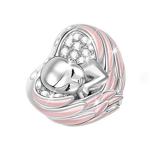 Abalorio de bebé con alas rosadas de plata de ley envuelta en ángel