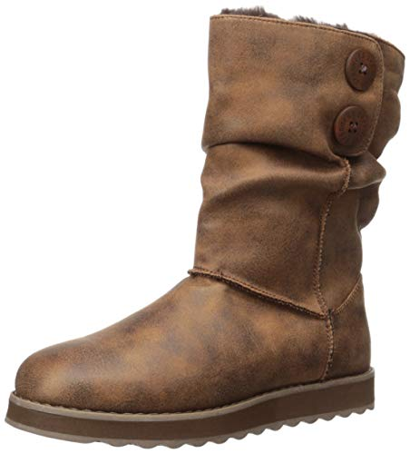 Skechers Women's Keepsakes 2.0-Upland-Mid Big Button Slouch Boot Calf, Chocolate, 8 M US