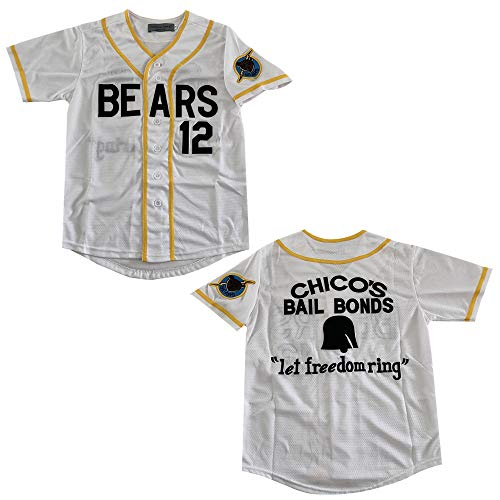 Rainbow Hawk Youths Bad News Bears 12 Tanner Boyle White Movie Baseball Jersey (White, S)
