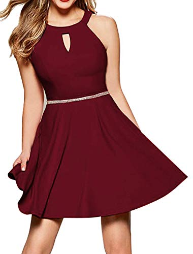 InsNova Burgundy Halter Homecoming Cocktail Dresses for Junior Teens Women's Short Simple Prom Dress for Wedding Guest Party