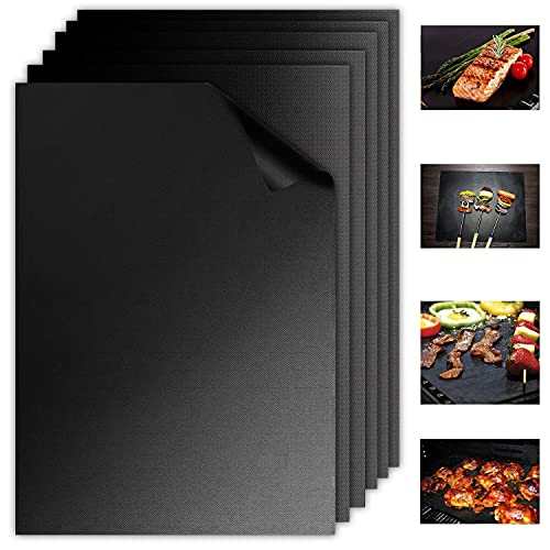 Aoocan Grill Mat Set of 6-100% Non Stick Heavy Duty BBQ Grill Mats, Reusable and Easy to Clean, Works on Electric Grill Outdoor Gas Charcoal BBQ as Seen on TV- Extended Warranty (6Black)