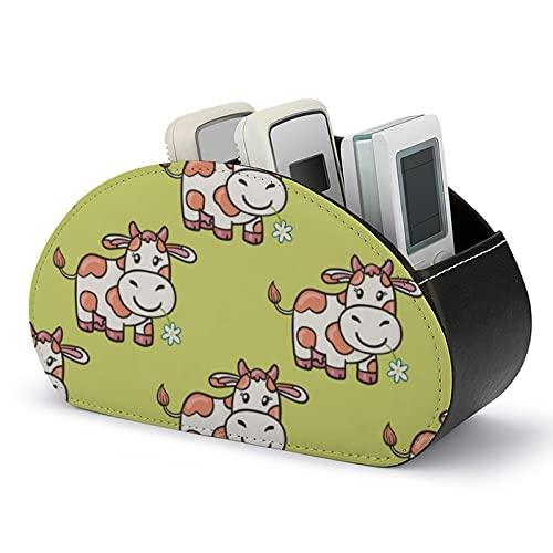 Porta telecomando per TV Scatola organizer Modello in pelle PU con mucche Doodle Cartoon Rastrelliera per organizer con design ad arco semplificato per dispositivi elettronici e archiviazione multim