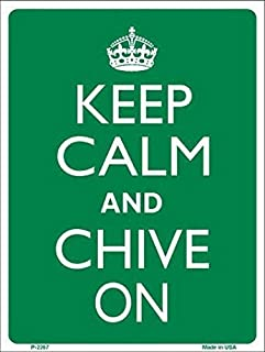 Tisigns Retro Metal Tin Signs 8x12 Inches Keep Calm Chive On Warning Caution Notice Sign Funny Metal Parking Sign for Home Yard Safety Sign for Halloween