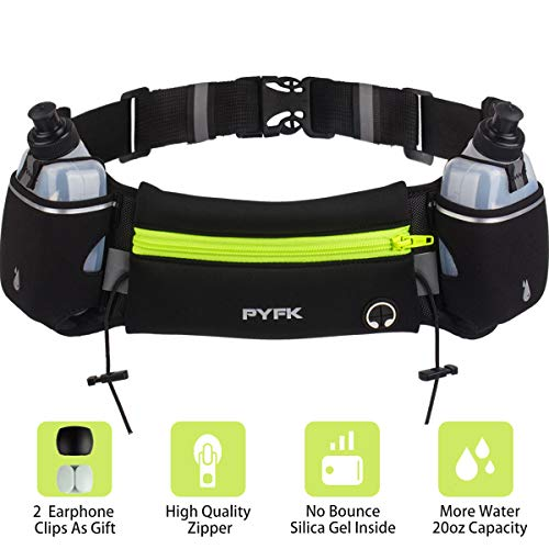 Upgraded Running Belt with Water Bottle, Waist Bag with Adjustable Straps for Men and Women, Large Pocket Running Fanny Pack Fits 6.5 inches Smartphones, Running Hiking Climbing Waist Pack (Green)