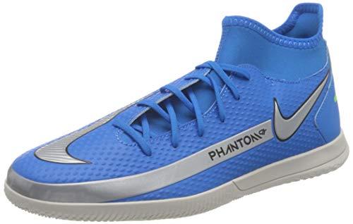 Nike Phantom GT Club DF IC, Football Shoe Hombre, Photo Blue/Metallic Silver-Rage Green-Black, 44.5 EU