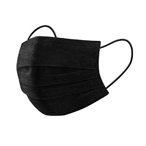 Einweg-Gesichtsmasken, Staubmasken Packung 50 Stück, 3-lagige Mund und Nasenbedeckung, bequem mit elastischem Gummizug in Farbe Schwarz