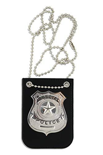 KINREX Disfraz de policía para niños – Soporte de insignia de policía falsa de primera calidad – Accesorios para disfraz de juego – Incluye cadena y clip de cinturón negro