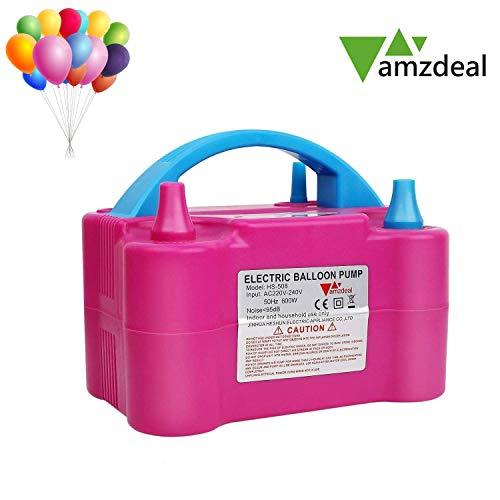amzdeal Ballon-Luftpumpe, elektrische Luftballonpumpe 600W Ballonpumpe mit automatik & halbautomatisch Modi und Tragbare Ballone Pumpe für Geburtstagsfeiern, Party, Hochzeitsfeiern