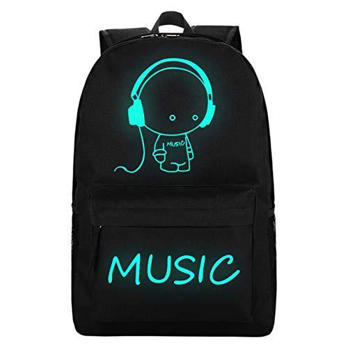 Unisex Luminous School Backpack with USB Charging Port