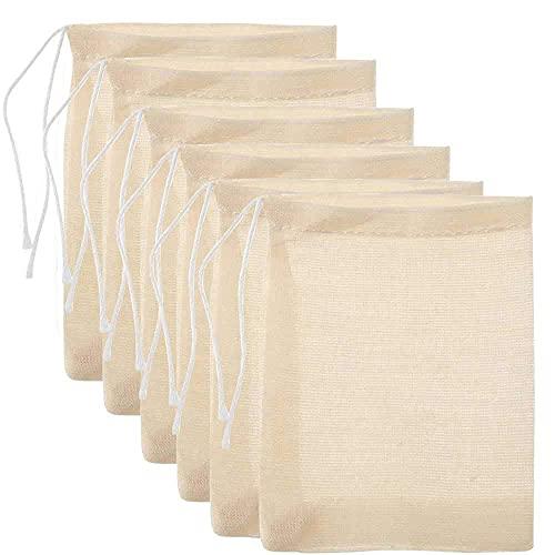 50 stücke Baumwolle Muslin Kordelzug-Taschen, wiederholbare kleine Mesh-Tasche für das Kochen, einweichendes Arzneimittel, Tee-Kaffeefilter, DIY Card-Gewürze Lagerung, Jäten-Party-Favor weiße Mesh-Tas