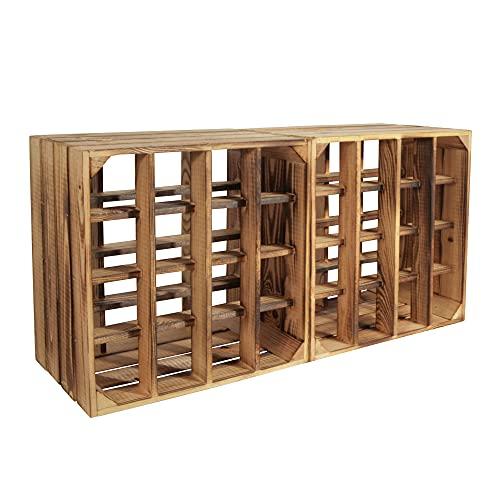 CHICCIE 2 Set Weinregal Wino aus Holz - Geflammt + Regal Holzkiste
