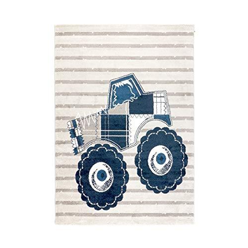 havatex Kinderteppich Truck - Blau Grau gestreift | Cooles Motiv mit blauem Comic Auto und Streifen | Öko-Tex Siegel | Teppich für Jungen Kinderzimmer, Farbe:Blau, Größe:120 x 170 cm