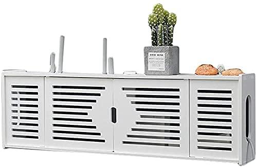 KAXO Estante de Pared Flotante Wifi Router Conjunto de Caja de Alenamiento Tv Caja de Tv Caja de Alenamiento Caja de Alenamiento Blanco,76Cm