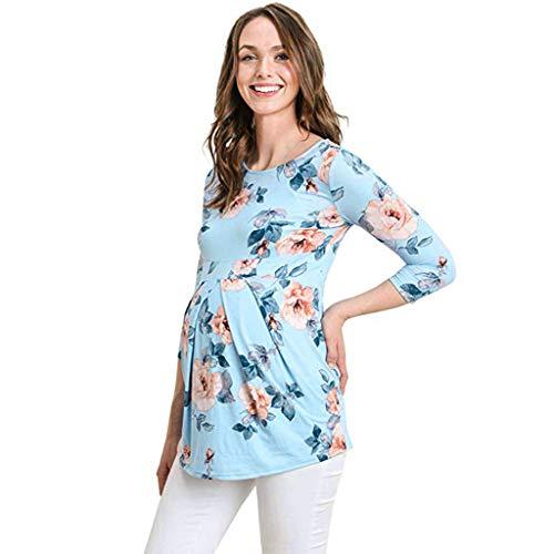 Battnot Damen maternityfashion bluse sommer 3/4 sleevesround hals elegant topmaternityshirt himmelblau s