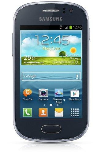 Samsung Galaxy Fame Smartphone (8,9 cm (3,5 Zoll) TFT-Display, 1GHz, 512MB RAM, 5 Megapixel Kamera, 4GB interne Speicher, USB 2.0, Android 4.1) metallic-blue