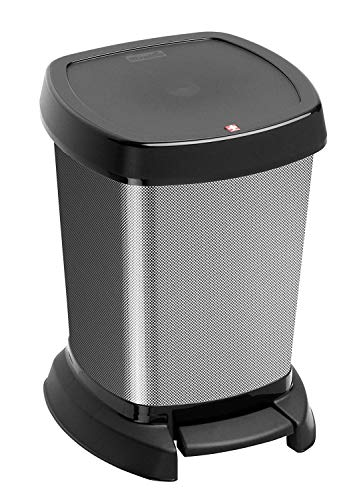 Rotho Paso Mülleimer 6l für das Bad mit Deckel, Kunststoff (PP) BPA-frei, carbon metallic, 6l (23,4 x 21,9 x 29,2 cm)