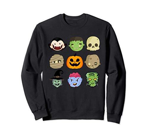 9 Monstruos Emoji Divertido Disfraz Halloween Hombre Mujer Sudadera