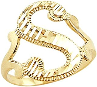 14k Yellow Gold Initial Letter Ring S