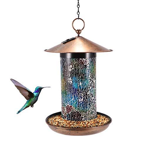 Solar Bird Feeder,Hanging Bird Feeder, Outdoor Hanging Garden Lantern Lights Waterproof Unique Retro Bird Feeder