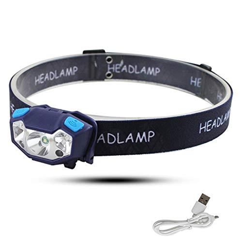 Linterna Frontal Led Recargable, Sensor de Movimiento, Luz de Cabeza Impermeable con 4 Modos para Linterna de Cabeza para Camping, Bicicleta, Pesca
