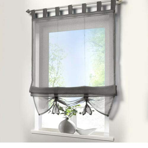 Voile Vorhänge halbtransparent Vorhang kurz im Modernen Wohnstil Sheer Gardinen 120×155cm für Wohnzimmer...