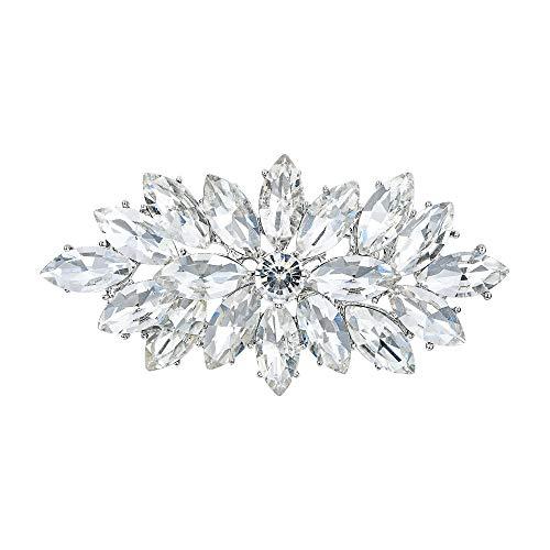 EVER FAITH Elegante broche de flores para boda con diseño de marquesa de cristal, color plateado