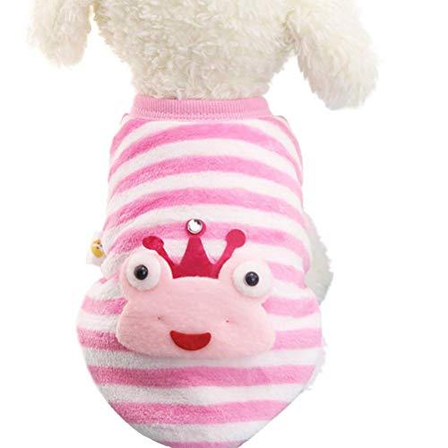 Macabolo Winter kleine hond kleding gestreept kikker flanel puppy hond kostuum honden jas jas huisdier kleding, Small, roze