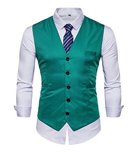 Chaleco de AYS, para hombre, entallado, liso, para traje, de estilo informal, tallas de M a 3XL Azul azul claro 40