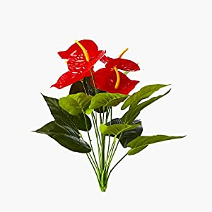 ELITE FLORAL 20″ Artificial Anthurium Spray with Greens, 18 Stems, 12 Leaves and 6 Flowers for Home Garden Office Flowers Arrangement Wedding Decorations