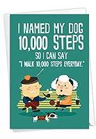 10,000ステップ:ヒステリカルバースデーグリーティングカード 面白い犬の散歩メッセージ付き 封筒付き C6896BDG