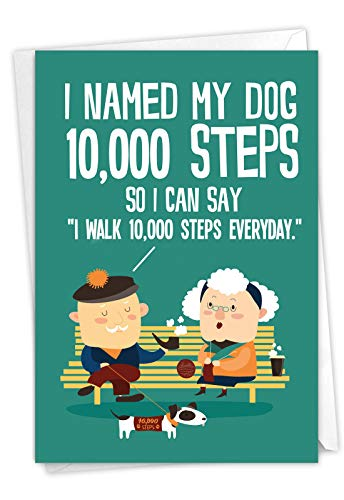 NobleWorks, 10,000 Steps - Happy Birthday Note Card for Grandpa - Funny Dog and Exercise Humor - Cartoon Greeting C6896BDG