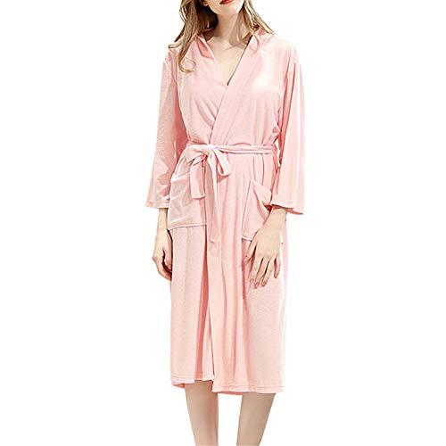 DISCOUNTL Bademantel Sippy Bademantel weiblich dünner Absatz Nachthemd Pyjama Spitze Damen Nachthemd Nachthemd Bademäntel für Frauen Gr. XXX-Large, Rose