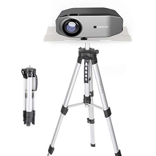 Vamvo Beamer Ständer, Beamer Stativ Projektorständer, Tragbarer Verstellbarer Laptop-ständer, Bodenständerhalterung Verstellbare Höhe von 42 cm bis 115 cm mit Klappplatte